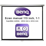 Ecran de proiectie montabil pe perete BenQ Electric 113 inch, 1:1, 203.2 x 203.2 cm