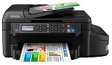 Multifunctional inkjet color CISS Epson L655, A4, 20/33 ppm, fax, ADF, LAN, Wireless